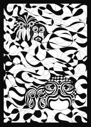 Schwarz Weiß Eulen 1