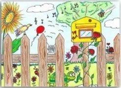 Postkarte Gartenzaungesang