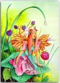 Postkarte Himbeer Elfe