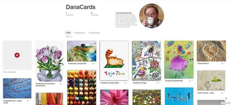 Screenshot Pinterrest DanaCards