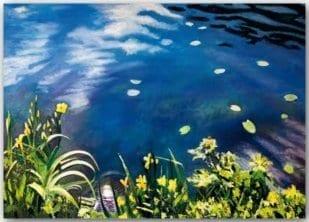 Postkarte Blätter im Teich