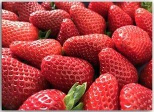 Postkarte mit leckeren Erdbeeren