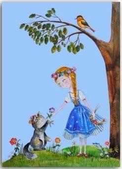 Postkarte Blumenmädchen