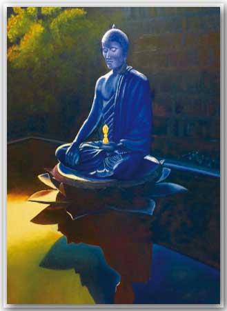 Postkarte Blauer Buddha