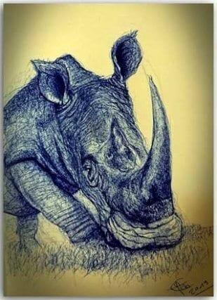 Postkarte Nashorn