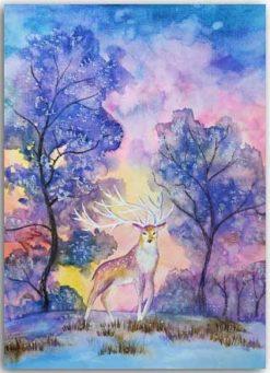 Postkarte Winterhirsch