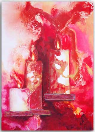 Postkarte Drei Kerzen