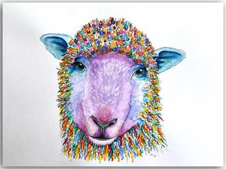 Postkarte Polly das Schaf