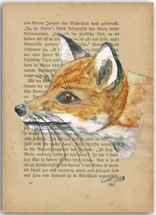 Fuchs auf alter Buchseite gemalt