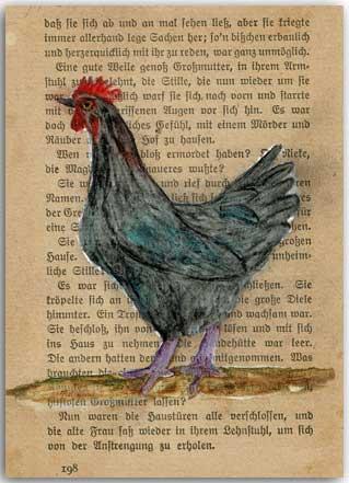 Huhn auf Buchseite gemalt