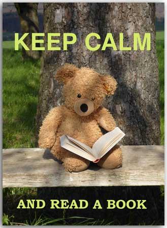 Postcard Keep Calm and read a Book