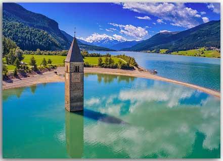 Postkarte Kirchturm im Reschensee