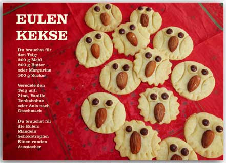 Postkarte Eulen Kekse